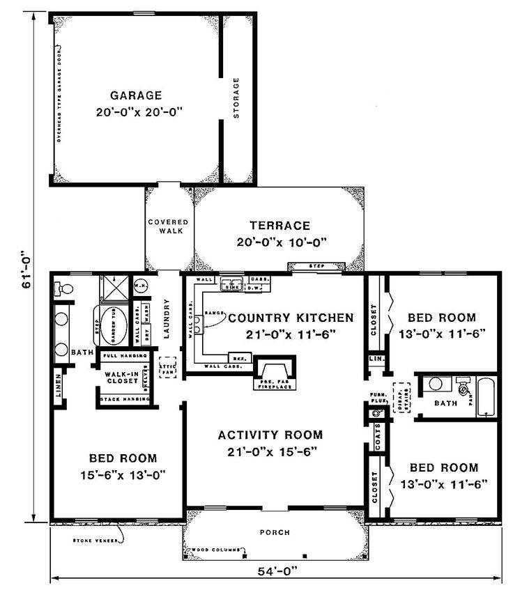 Ranch house plans detached garage for Detached garage floor plans