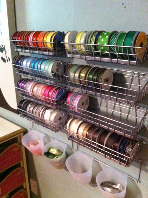 Great idea for ribbon storage! (using IKEA Bygel)