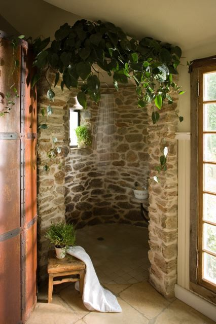 love, love this shower by john carloftis. Dream home has an open shower where humid plants will thrive.