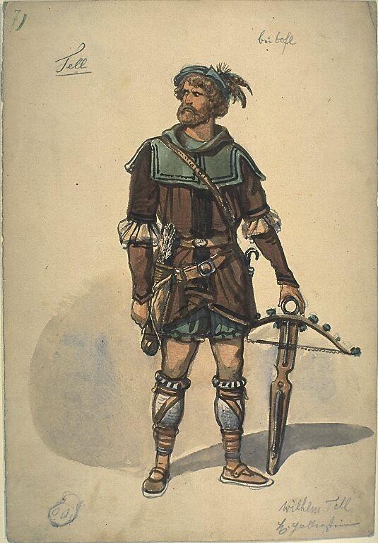 Kostümentwurf für die Figur des Wilhelm Tell aus 'Wilhelm Tell' von Friedrich von Schiller | Franz Gaul | Bildindex der Kunst & Architektur