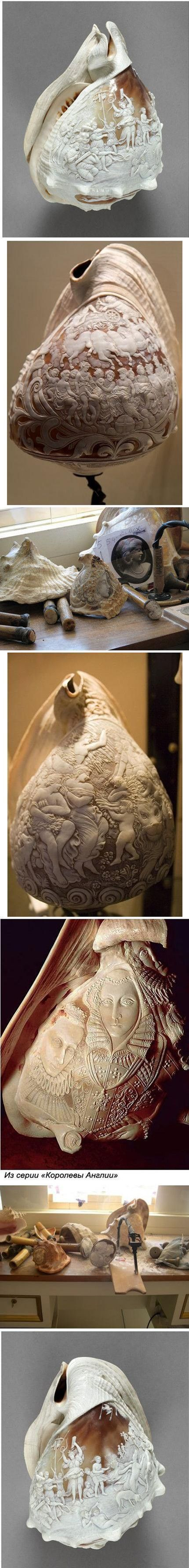 carving on shells..