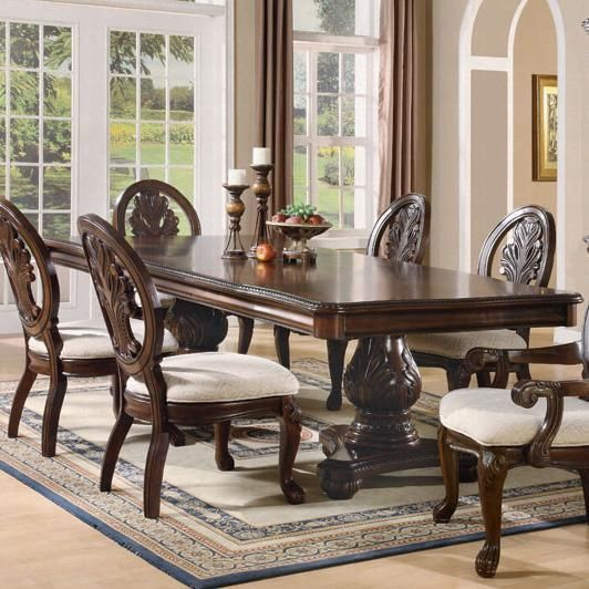 Coaster Tabitha Double Pedestal Table Set In Cherry