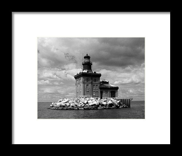 Toledo harbor lighthouse in bw framed print by michiale schneider