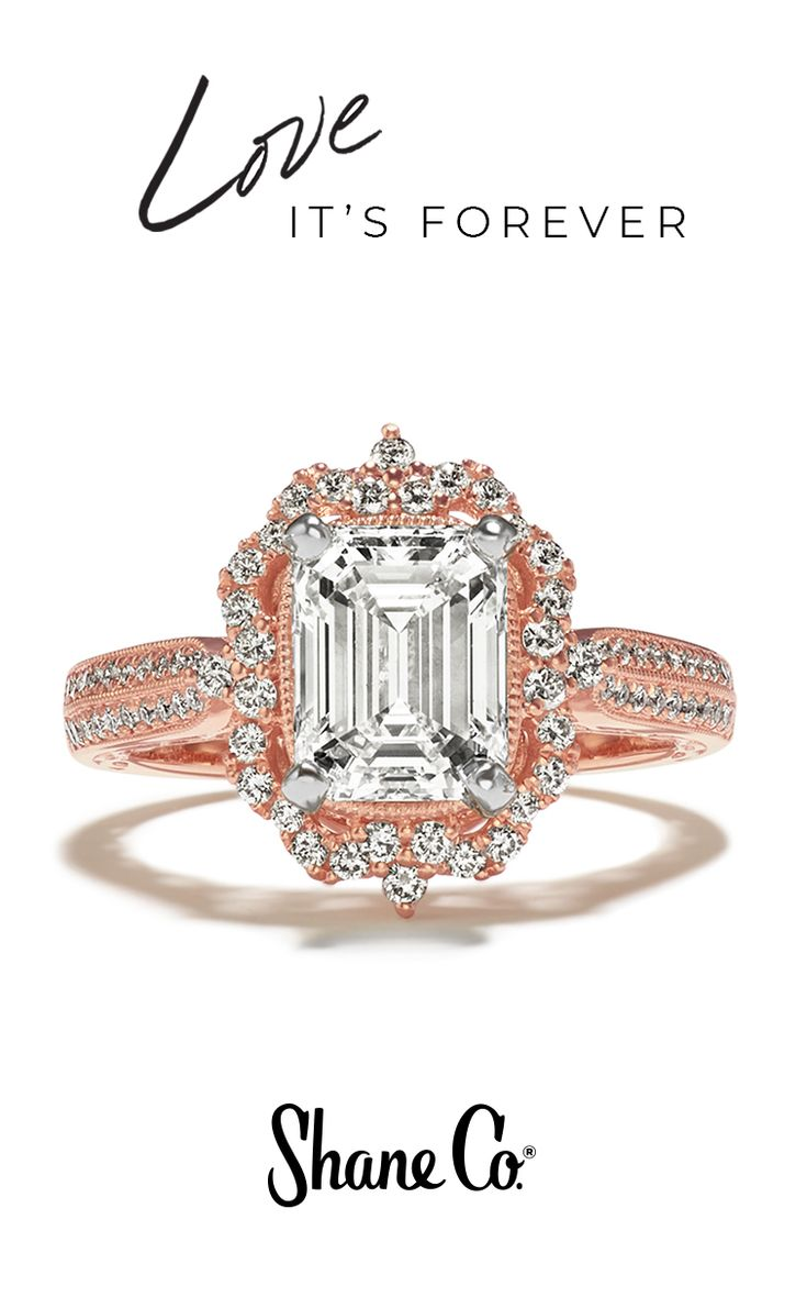This Valentine's Day, make the bride-to-be blush with a stunning engagement ring in our signature shade of rose gold. This shimmering halo ring features 74 round pave-set diamonds, at approximately .44 total carat weight, hand-selected and hand-matched for exceptional sparkle. Set in quality 14k rose gold, this ring measures 15mm wide and awaits the center diamond of your choice at approximately 1.00 carat.
