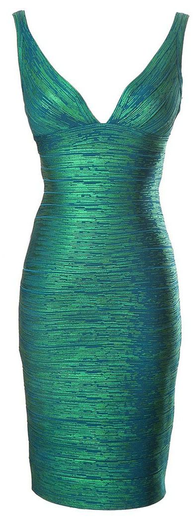 Morpheus Boutique  - Green Shimmer Deep V Neck Backless Ruched Banded Pencil Zipper Dress, $129.99