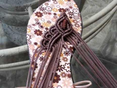 Sandalias hechas a mano con Tecnica de Macrame - YouTube