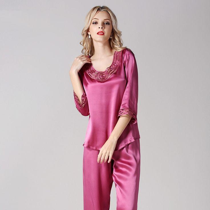 Women's Silk Pajama Set Silk Loungewear Short Sleeve Embroidery Lace T7701