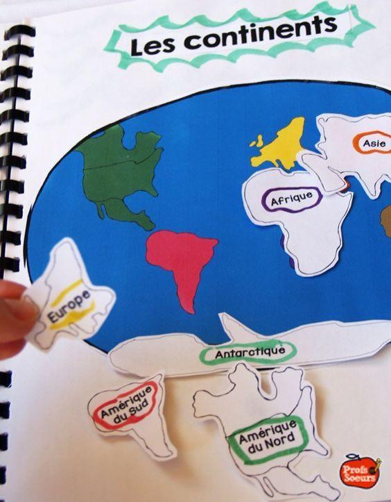 Apprendre les continents dans le cahier interactif de Géographie / Profs et Soeurs
