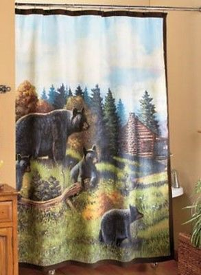 Lack Bear Bath Collection Is A Charming Touch Of The Wilderness For Your  Home. The Shower Curtain X Features A Scenic Mountainside Landscape With  Brown, ...