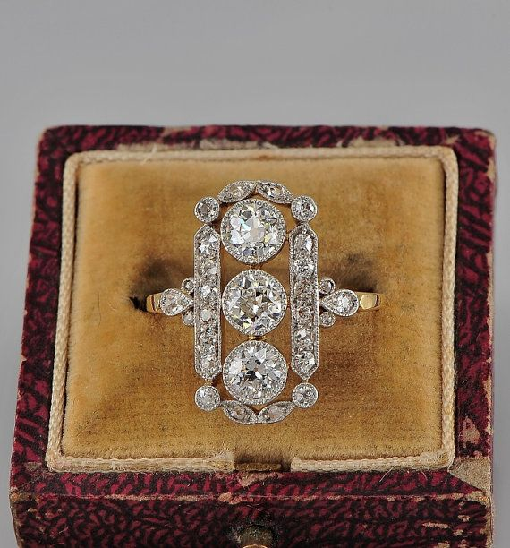 Edwardian 2.20 Ct diamond heirloom panel ring by hawkantiques