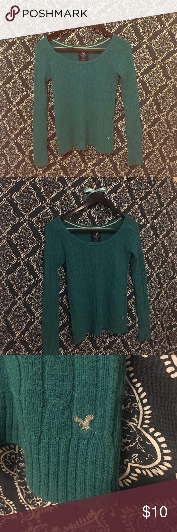 Blue/Green American Eagle Sweater! Blue/green scoop neck American Eagle Sweater! Silver eagle detail. American Eagle Outfitters Sweaters Crew & Scoop Necks