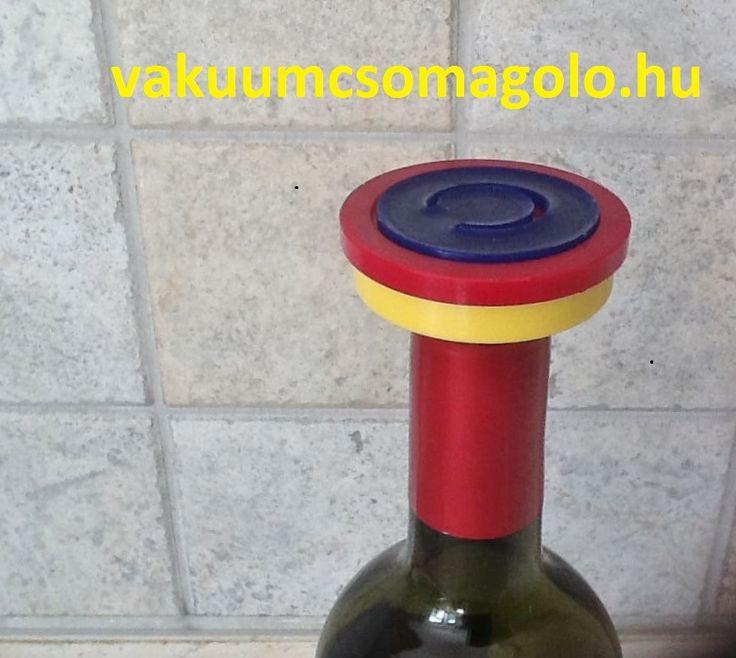 borzár boros üvegen, mely a vákuumot korlátlan ideig megtartja