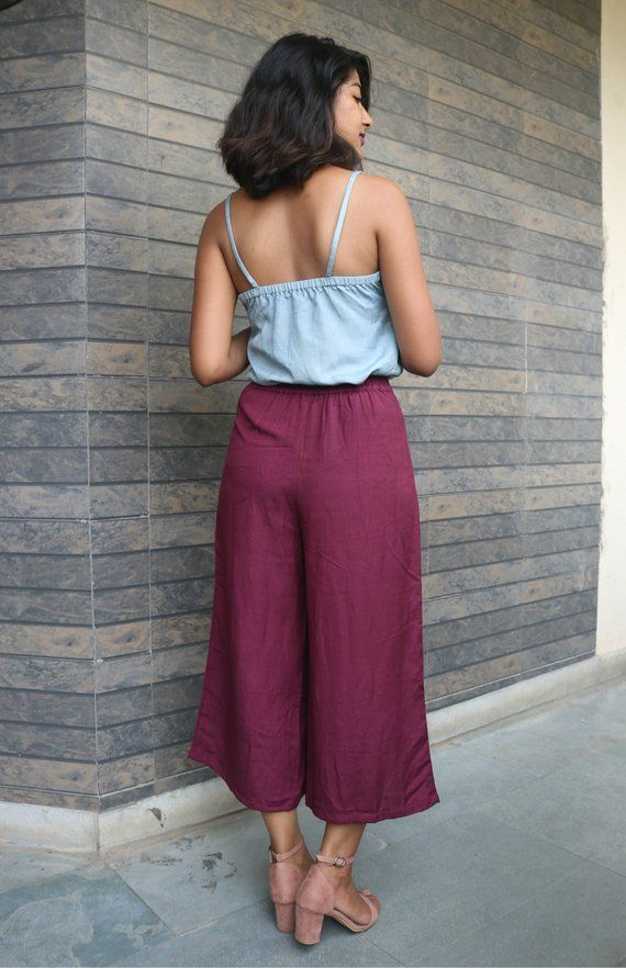 Pleated pant for womenWine linen pantcustom mademade to orderplus size