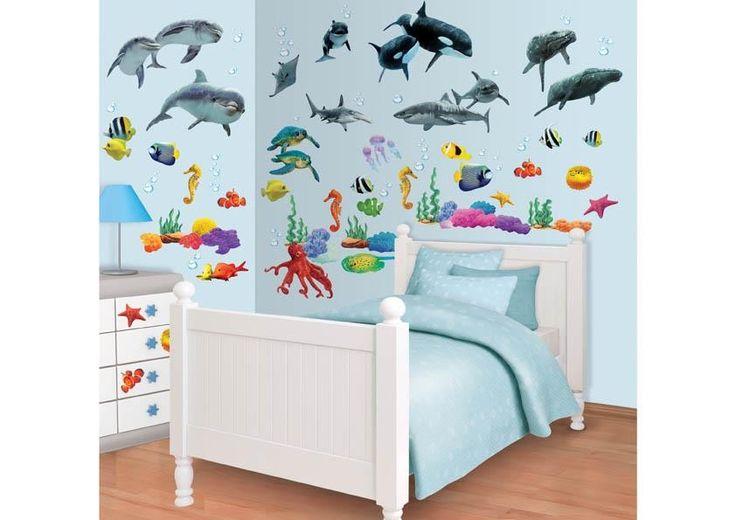 108 muurstickers met dieren uit de onderwaterwereld. Ideaal om de kinderkamer te decoreren!