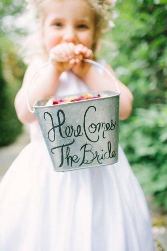 Flower girl rustic wedding bucket / http://www.deerpearlflowers.com/ideas-for-rustic-outdoor-wedding/