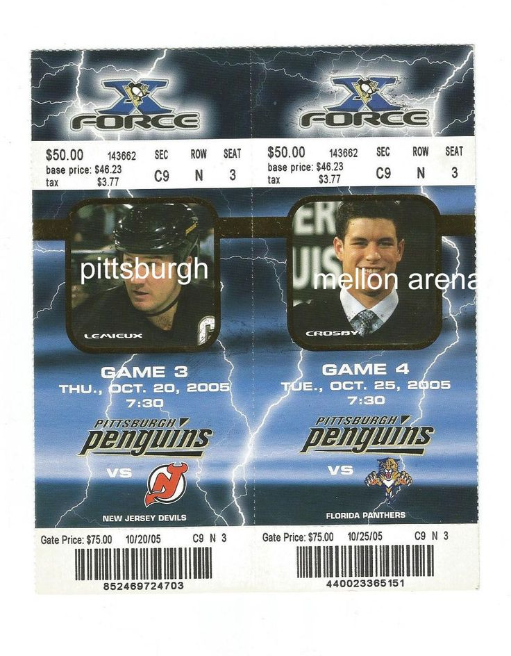 PITTSBURGH PENGUINS TICKETS MARIO LEMIEUX  SIDNEY CROSBY 2005-06