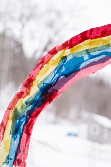 Instead of a rainbow suncatcher with seven rainbow colors, make it with the three primary colors to add a twist of learning about color mixing too!