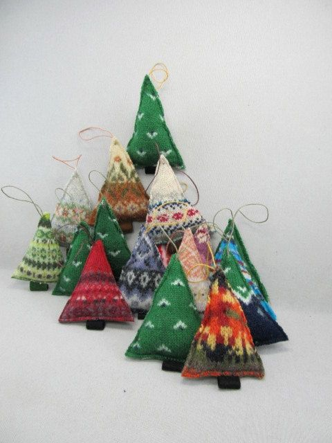 Idea, tree ornaments, old felted sweaters