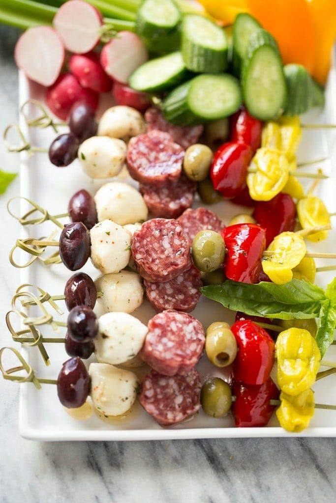 This easy antipasto appetizer is an assortment of italian meats, cheeses, olives and vegetables threaded onto a stick for an elegant appetizer.