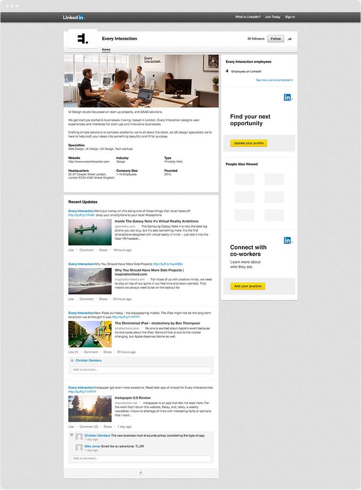 LinkedIn Company page GUI PSD/Sketch Template What is