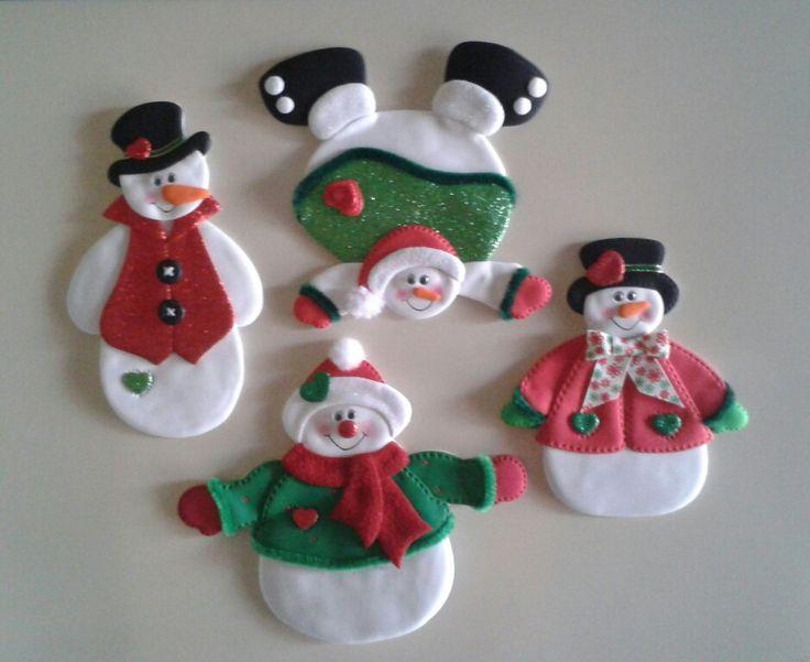 Muñecos de nieve_Imánes para la nevera.