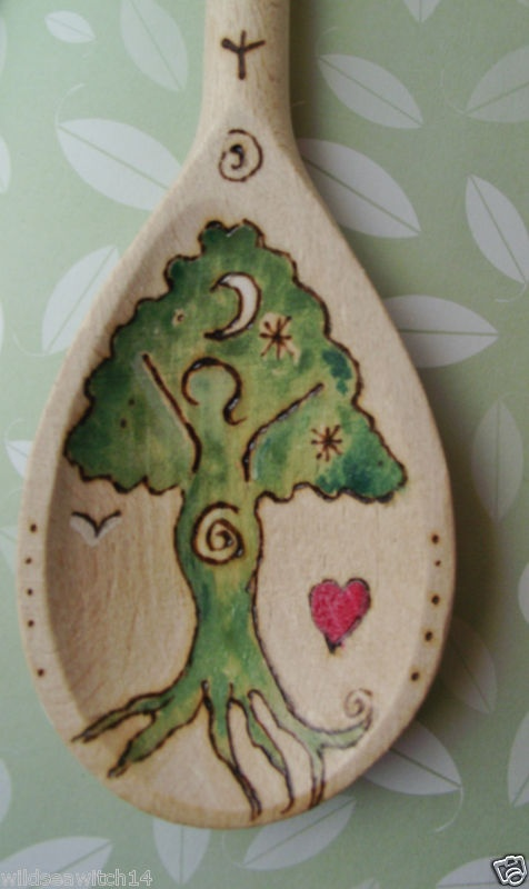 Personalised Kitchen Goddess Wooden Spoon Wicca Pagan