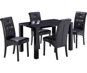 LPD Monroe Black High Gloss Dining Table with 4 Chair. Shop online dining tables and chairs, cheap dining room furniture, cheap dining sets, cheap dining table set furniture from wide range collection at a lowest price.