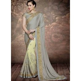 Pista Green and Grey Heavy Embroidered Party Wear Saree