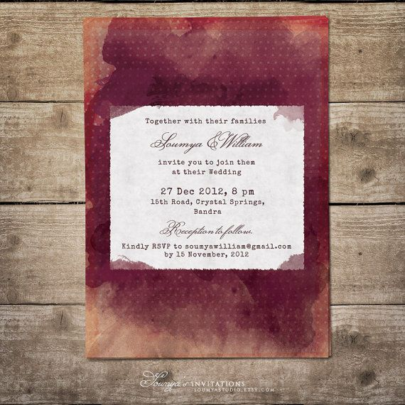 Invitation watercolor https://www.etsy.com/listing/181029332/burgundy-wedding-invitation-bordeaux-and