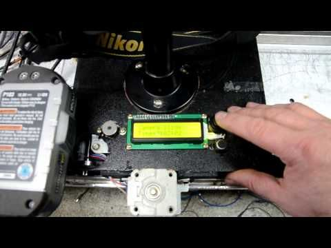Home made camera slider stepper motor - Arduino - Stepstick I2C LCD - YouTube