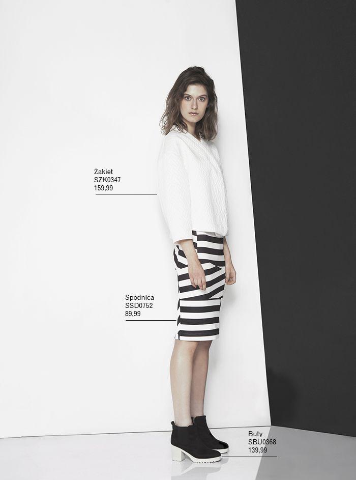 Biały #zakiet i geometryczna spódnica