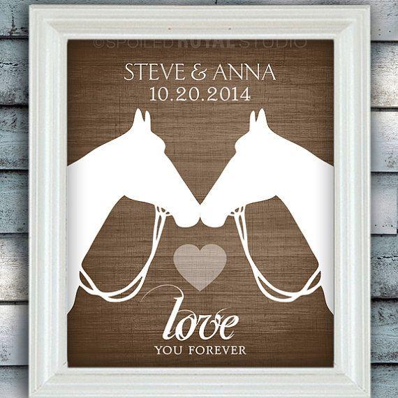 Pferd Liebe - Datum Name Print - Personalisierte Hochzeit Hochzeitsgeschenk - Bridal Shower Gift - Pferd Print - ungerahmt