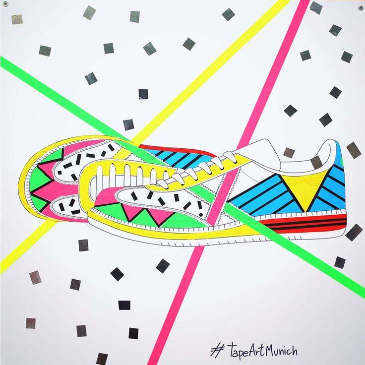 #colectivotav Ilustraciones efímeras con cintas adhesivas de #colores #ArtMunich #Ruzafa #TapeArtMunich