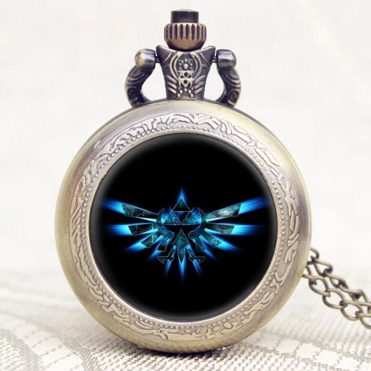 Silver Pocket Watch with Blue Triforce Wingcrest #zelda #jewelry #watches #geek