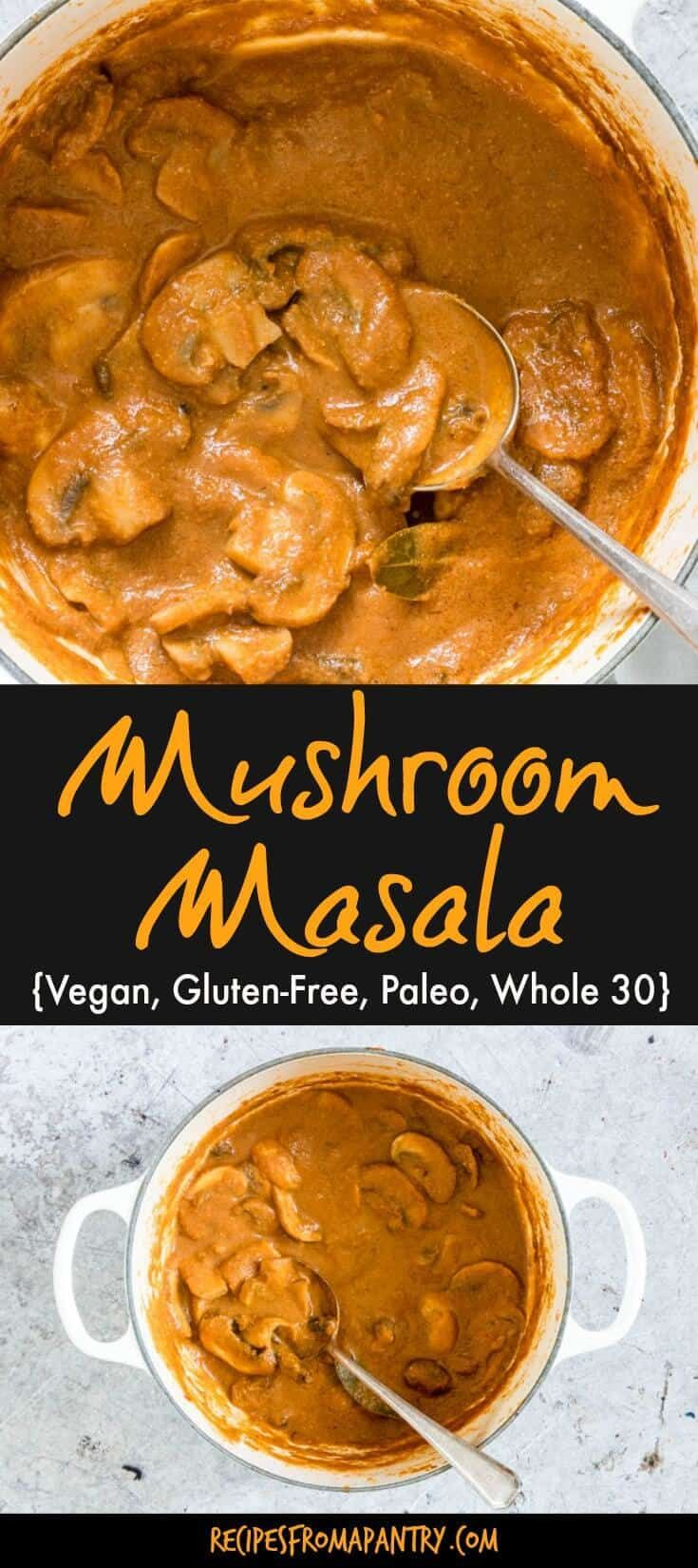 Mushroom Masala (Mushroom Masala gravy, Mushroom Masala curry) is a classic Indian recipe that is flavourful and warming. Ready in just about 30 mins and makes for a quick dinner recipe. Vegan, gluten-free, Paleo and Whole 30 compliant. #mushroommasala #mushroommasalarecipes #indian #indianrecipes via @recipespantry
