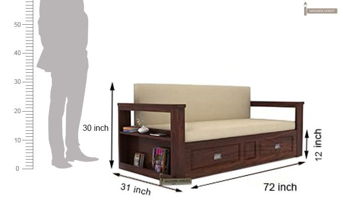 Riota Sofa Cum Bed With Storage King Size Walnut Finish In 2019