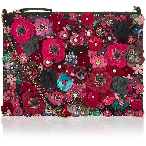 Accessorize Mabel 3D Floral Clutch Bag featuring polyvore, women's fashion, bags, handbags, clutches, bolsos, chain-strap handbags, party clutches, beaded handbag, beaded purse and floral clutches