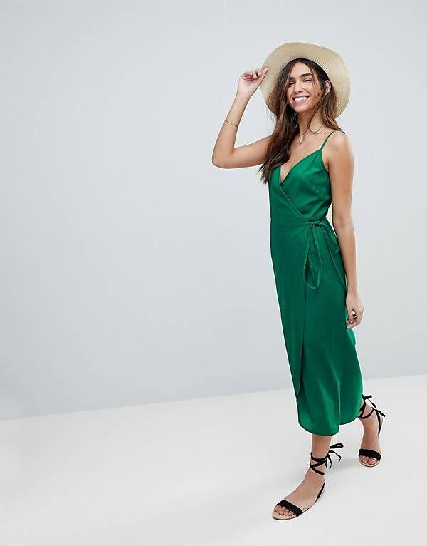 953bcc0cbc85 ASOS DESIGN Cami Wrap Linen Maxi Slip Dress | photo sesh | Maxi wrap ...