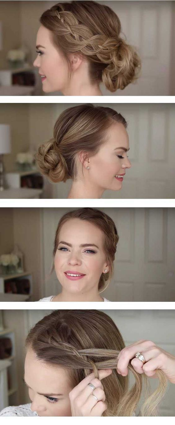 Best Hairstyles for Brides - Four Strand Braid Low Bun - Amazing Hair Styles and Looks for Half Up Medium Styles Updo With Long Hair Short Curls Vintage Looks with Veil Headpieces or With Tiara - Wedding Looks for Girls With Round Faces - Awesome Simple Bridal Style With Headband or Elegant Braided Up Dos - http://ift.tt/2A8qsB6