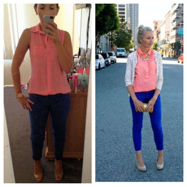 ootd coral shirt with cobalt blue skinny jeans nude shoes | Colored ...
