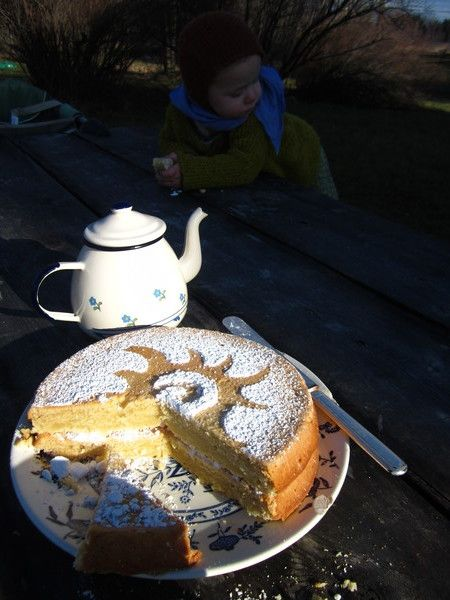 Tea and Sun Cake Outside for Winter Solstice