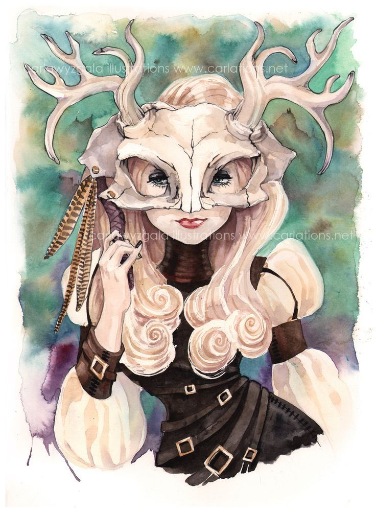 Teal Jackalope skull mask art print. $11.00, via Etsy. Elegant Steampunk vibe.