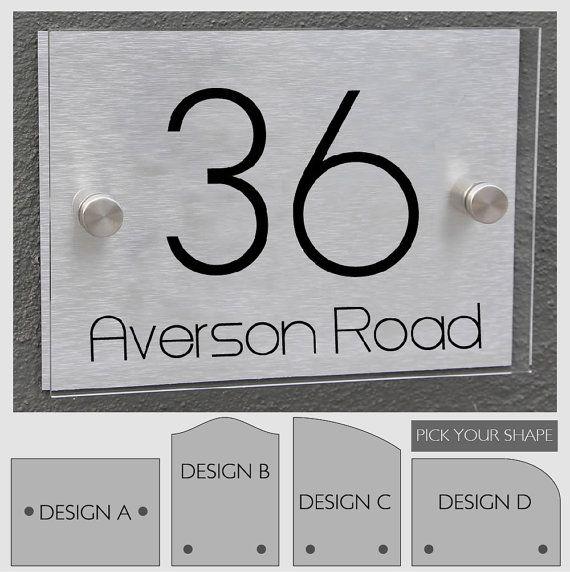 Modern House Number Sign Plaque Street Designer Door Aluminium Etsy Modern House Numbers Sign Modern House Number House Number Sign