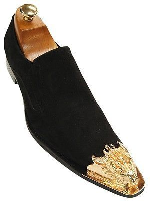 Liked on Pinterest: Fiesso Men Black Suede Gold Metal Detailing Pointed Toe Slip On Party Dress Shoe