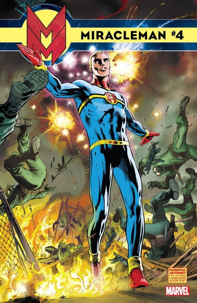 """Miracleman #4  Origins and revelations bring the first chapter in the MIRACLEMAN saga to its shocking conclusion! An unexpected ally leads Miracleman to Project Zarathustra, the site of the secret British operation that gave birth to the Miracleman Family. After last issue's battle, the Warpsmiths regroup to mourn their dead in """"Ghostdance."""""""