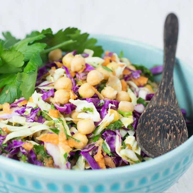 Cabbage, Chickpea & Spring Herb Salad In Curry Dressing. Click Visit for the recipe on our blog.