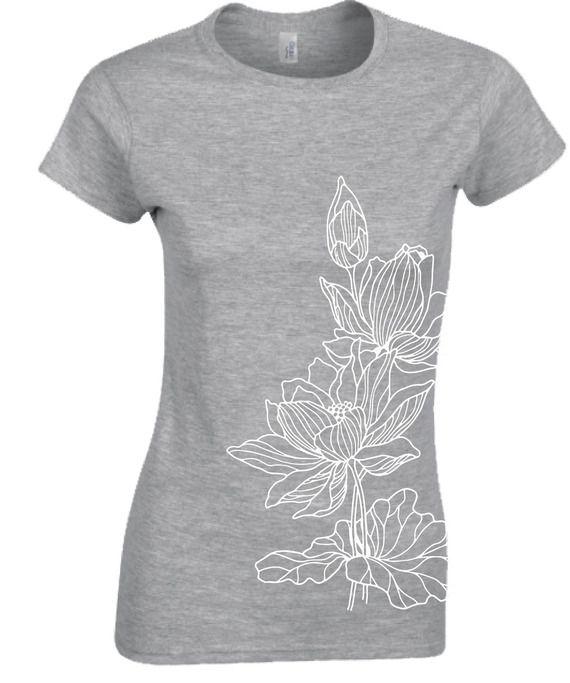 Tee Shirt Femme Gris Sport Motif Fleur Lotus Imprimé - Taille S M L XL