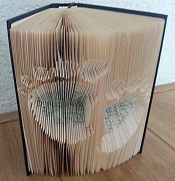 Boekkunst babyvoetjes negatief gevouwen. Hierbij komen de voetjes in het papier en bij gewoon vouwen komen de voetjes uit het papier. Beide op de website!