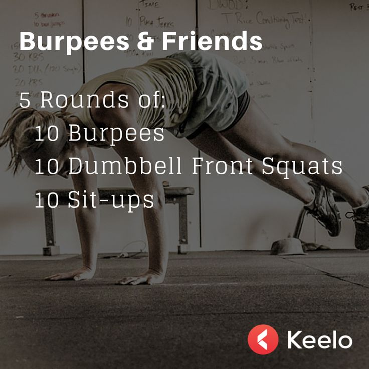 5 RFT burpees, sit ups, dumbbell front squats