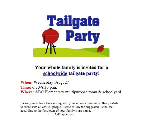 Great idea for a family get together at back-to-school time! Download free invite from PTO Today File Exchange.